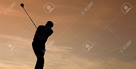 11911761-Senior-man-playing-golf-pictured-as-a-silhouette-against-an-evening-sky-Stock-Photo